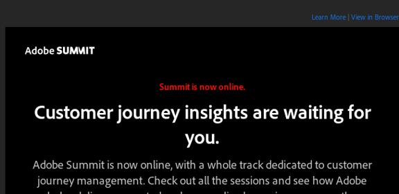 Paul_Airy: Adobe Summit is now online! https://t.co/RNT07vcxLg @AdobeSummit @Adobe #CustomerJourneyManagement #EmailMarketing… https://t.co/gHWryiNjTb